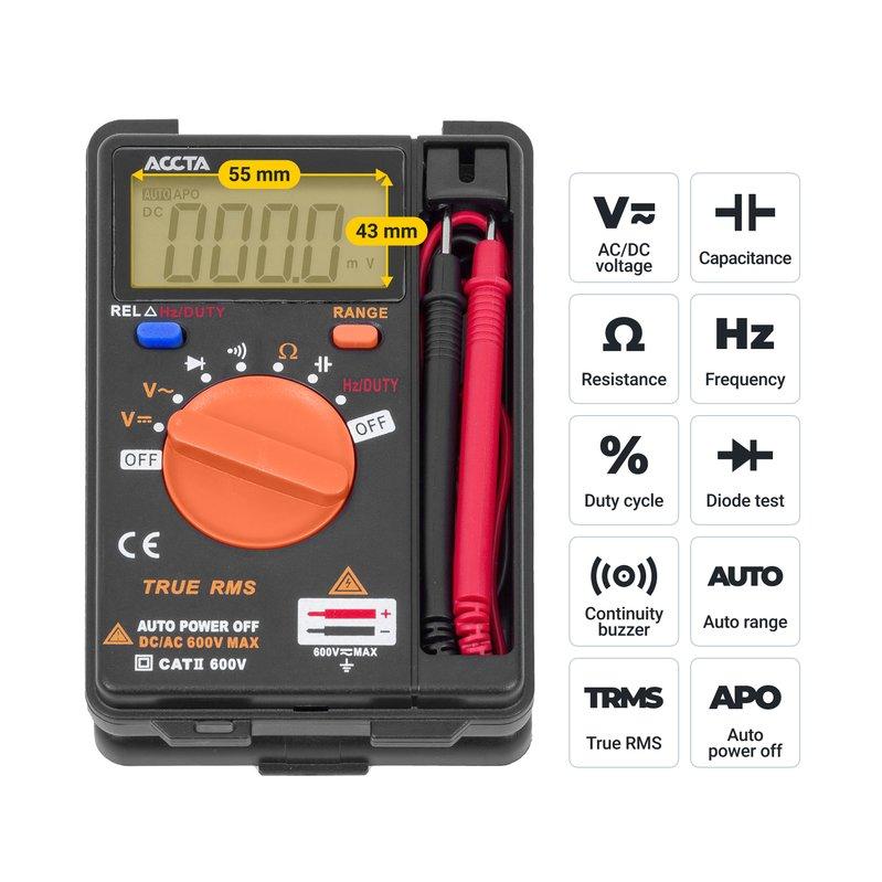 Кишеньковий цифровий мультиметр Accta AT-110 Зображення 5